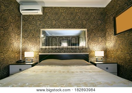 Interior of a bedroom in a hotel