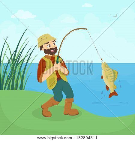 Fisherman catches fish on the lake or river. Big fresh fish.