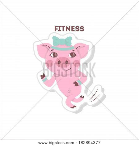 Pig does fitness. Isolated cartoon sticker. Running