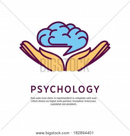 Psychology logo design with open hand palms with human brain over them isolated on white. Intelligence symbol with creative mind icon in human arms. Vector illustration of getting knowledge concept