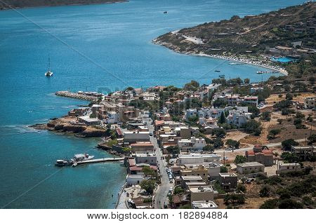 Aerial view on small town near Aghios Nikolaos town on Crete island, Greece