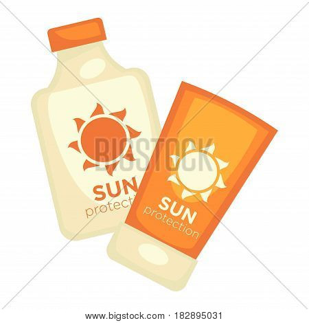 Sun protection lotions set isolated on white. Flasks with moisture ointment protective elements during sunbathing vector illustration in flat style design. Bottles with cream saving from ultraviolet