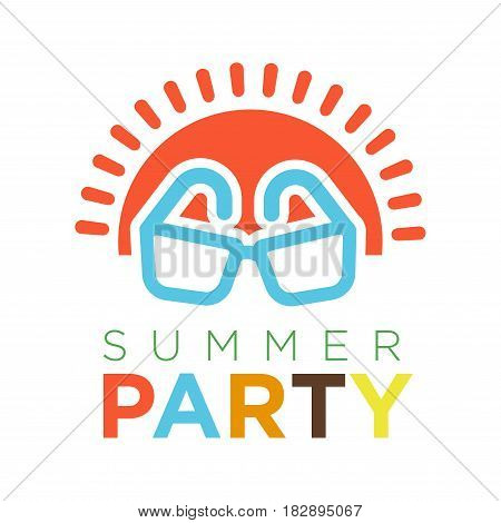 Summer party logotype with red sun and sunglasses vector illustration in flat design. Enjoy summertime holidays template logo isolated on white background. Rest during sunny weather concept
