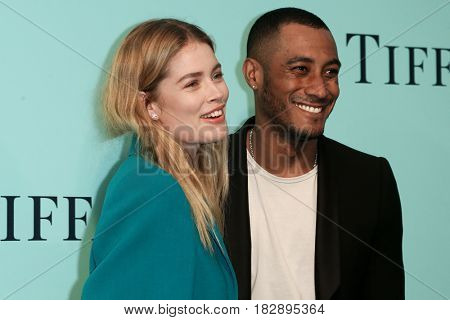 BROOKLYN, NY-APR 21: Model Doutzen Kroex (L) and Sunnery James attend the Tiffany & Co. 2017 Blue Book Collection Gala at St. Ann's Warehouse on April 21, 2017 in Brooklyn, New York.