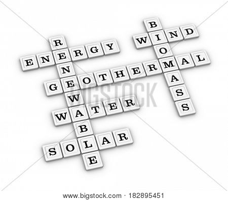 Renewable Green Energy crossword puzzle. Save Earth concept. 3D illustration, isolated on white background.