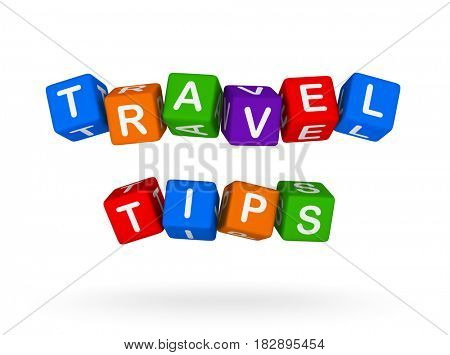 Travel Tips Colorful Sign isolated on white background. Vacation concept, 3D illustration.