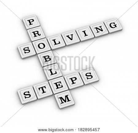 Problem Solving Steps Crossword Puzzle. 3D illustration, isolated on white background.