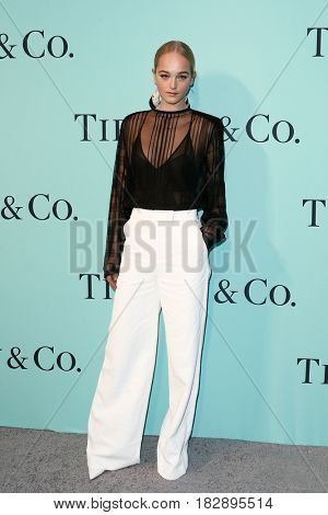 BROOKLYN, NY-APR 21: Model Jean Campbell attends the Tiffany & Co. 2017 Blue Book Collection Gala at St. Ann's Warehouse on April 21, 2017 in Brooklyn, New York.