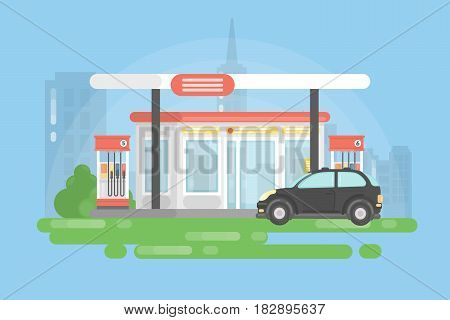 Urban gas station. Simple landscape background and black car.