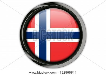 Norway  Flag In The Button Pin Isolated On White Background