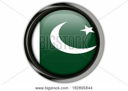 Pakistan  Flag In The Button Pin Isolated On White Background