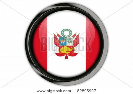 Peru  Flag In The Button Pin Isolated On White Background
