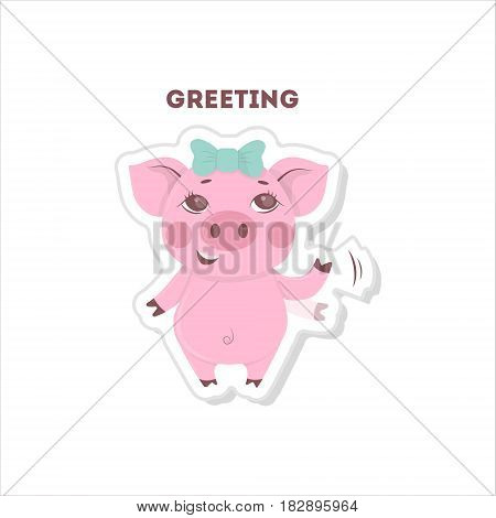 Pig says hi. Isolated cute sticker on white background.