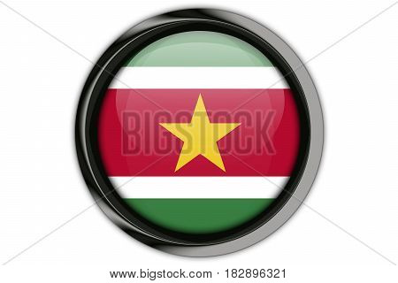 Suriname Flag In The Button Pin Isolated On White Background