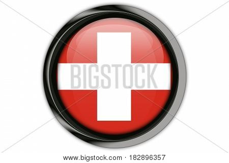 Switzerland Flag In The Button Pin Isolated On White Background