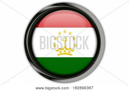 Tajikistan  Flag In The Button Pin Isolated On White Background