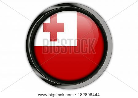 Tonga Flag In The Button Pin Isolated On White Background