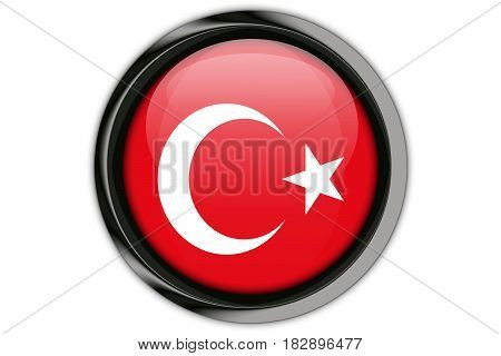 Turkey Flag In The Button Pin Isolated On White Background