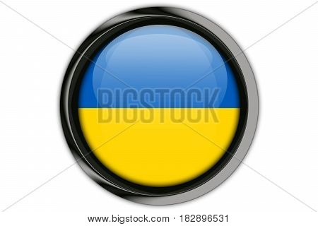 Ukraine Flag In The Button Pin Isolated On White Background