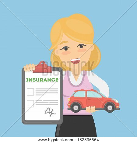 Woman shows car insurance. Happy young lady holds car and document.