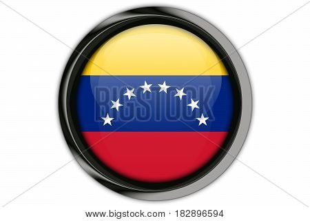 Venezuela Flag In The Button Pin Isolated On White Background