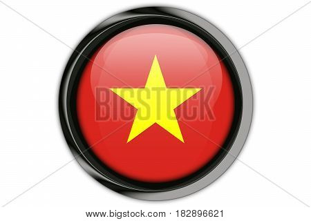 Vietnam Flag In The Button Pin Isolated On White Background
