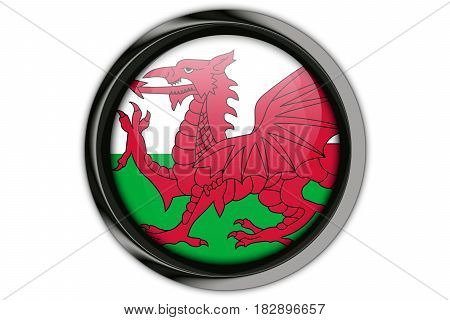 Wales Flag In The Button Pin Isolated On White Background
