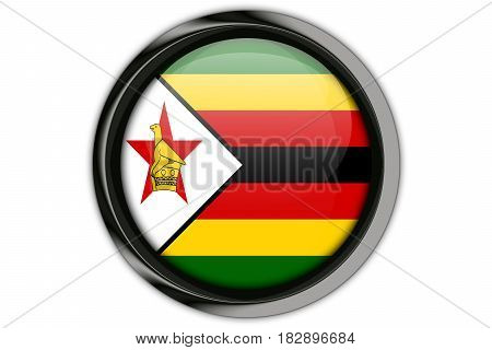 Zimbabwe Flag In The Button Pin Isolated On White Background