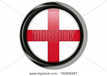 England Flag In The Button Pin Isolated On White Background