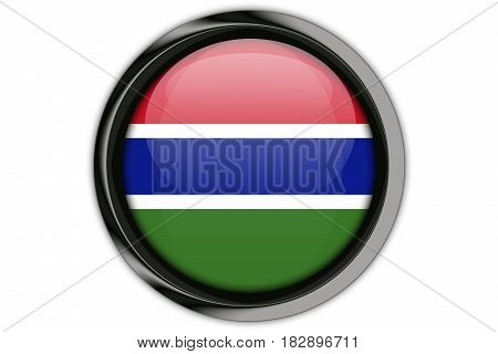 Gambia Flag In The Button Pin Isolated On White Background