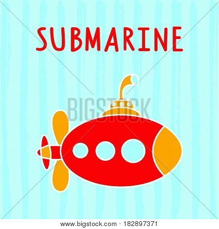 Sea submarine for kids fun..Vector illustration of cartoon submarine underwater..Cute kids toy water transport for nursery decoration..Vector transportation symbol..Kids transport. Kids background