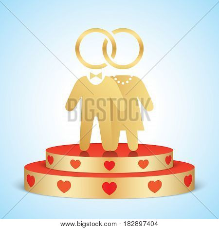 Vector bride and groom icons standing on a golden stage with red hearts. Just married couple, united with wedding rings and clothed with elegant dresses.
