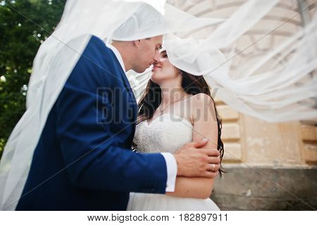 Wedding Couple In Love Stay Against Old Vintage Palace.