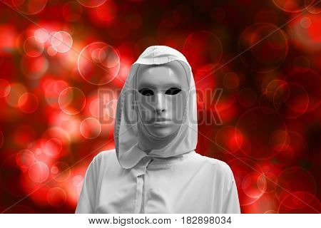 priestess of red magic, sorcerer with magical mask occult , bokeh background