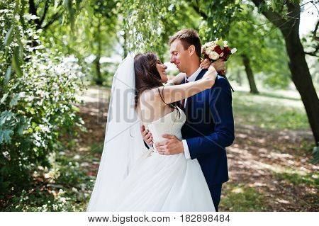 Wedding Couple In Love Hugging At Park At Sunny Day.
