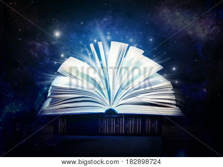 Mystical old book. Open old book indoor. A fairy tale