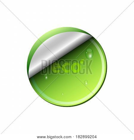 Ecological light green banner isolated on white background. Flowing drops of water. Background for your projects. Clean and fresh nature. Realistic vector illustration. EPS 10 Web
