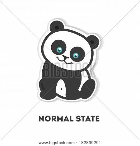Simple panda sticker. Isolated cute sticker on white background.