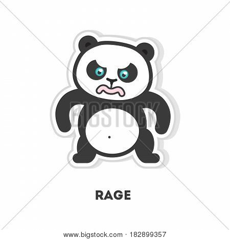 Super angry panda sticker. Isolated cute sticker on white background.
