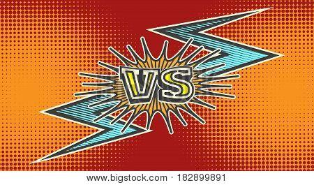 Handdrawn versus letters background. Popart vs backdrop vector illustration