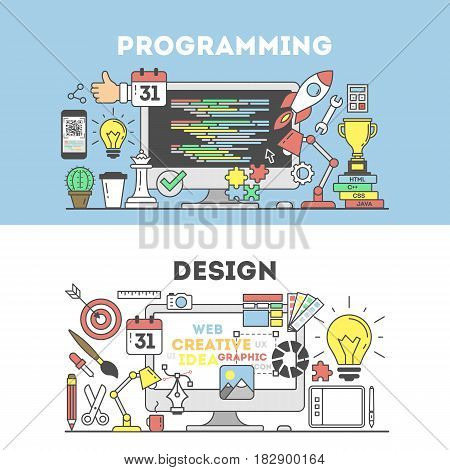 Programming and design. Signs and icons on background.