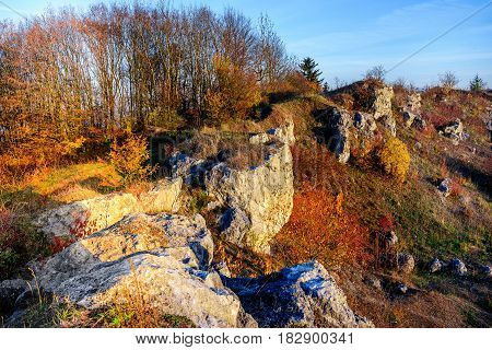 Rocky Landscape During Autumn. Beautiful Landscape With Stone, Forest And Fog. Misty Evening Autumn