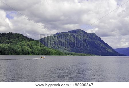 Siberia. View from the water area of the Teletskoye Lake to the right bank