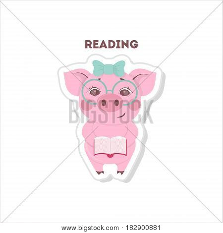 Pig with book sticker on white backround.