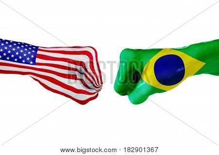 USA and Brazil country flag. Concept fight war business competition conflict or sporting events isolated on white, 3D illustration
