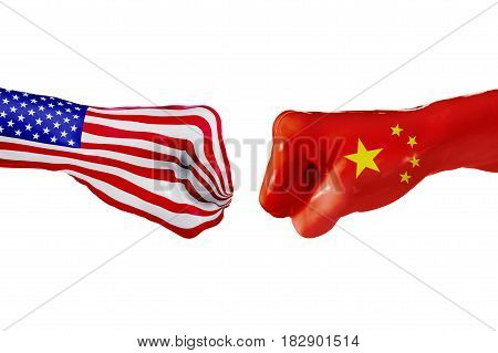 USA and China country flag. Concept fight war business competition conflict or sporting events isolated on white, 3D illustration
