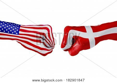 USA and Denmark country flag. Concept fight war business competition conflict or sporting events isolated on white, 3D illustration
