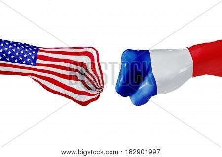 USA and France country flag. Concept fight war business competition conflict or sporting events isolated on white, 3D illustration