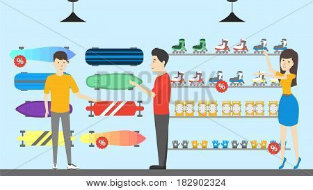 Sport store interior. Salespeople with visitors. Buying boards