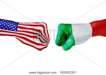USA and Italy country flag. Concept fight war business competition conflict or sporting events isolated on white, 3D illustration